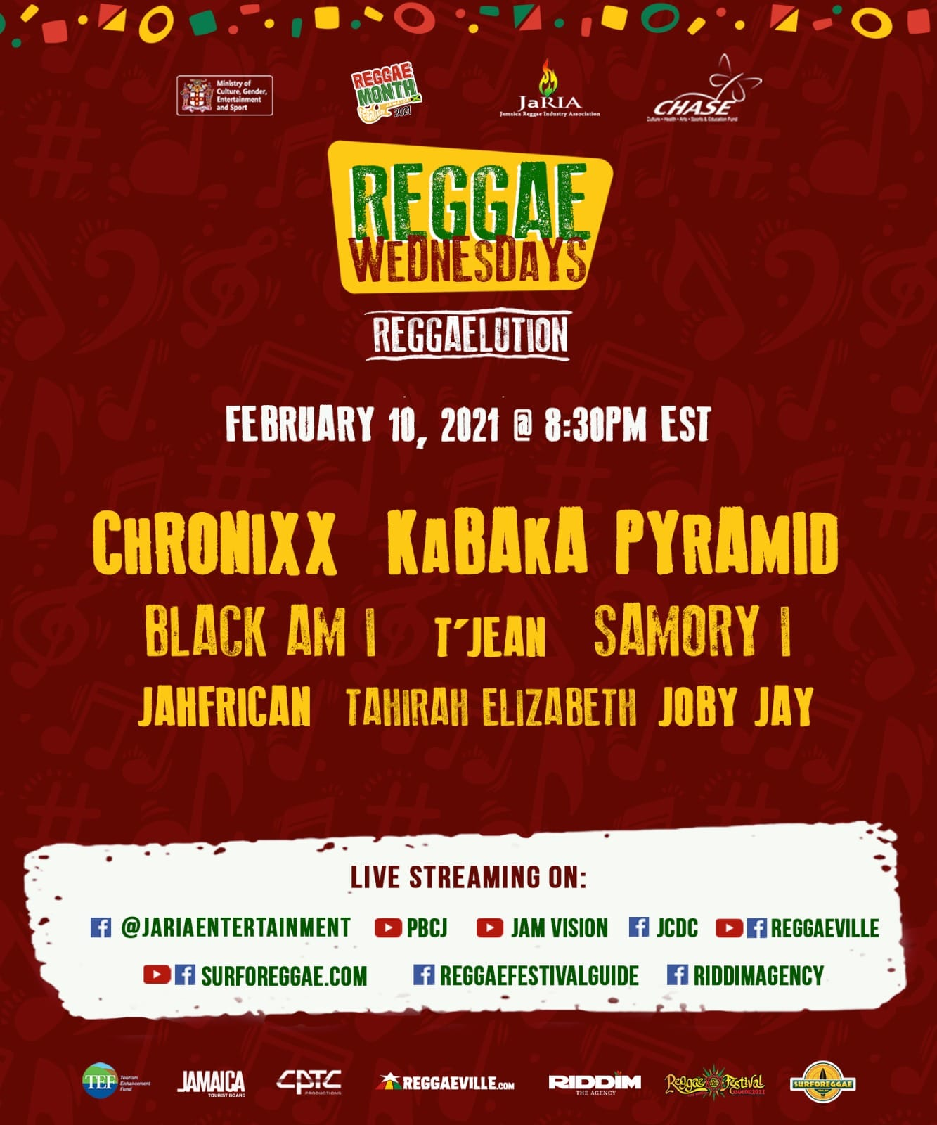 Reggaelution 2021 -Chronixx, Kabaka Pyramid & Samory I