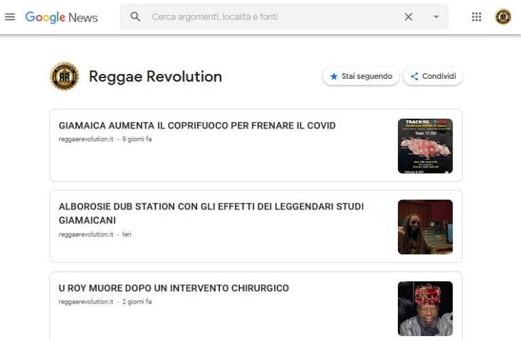 REGGAE REVOLUTION.IT DIVENTA FONTE DI NOTIZIE SU GOOGLE NEWS